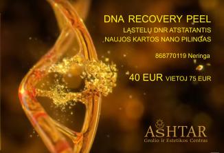 Akcija DNR recovery peel procedūrai Ashtar, Aštar, Ashtar.lt Grožio procedūros Klaipėdoje Raukįlių, senstančiai veido odai, veido valymas ferulako rūgįtimi